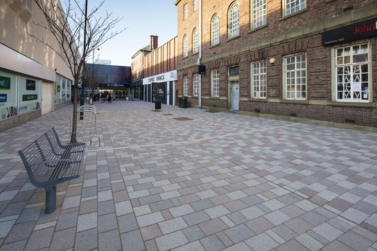 Mistral and Modal paving - Stretford Mall, Manchester