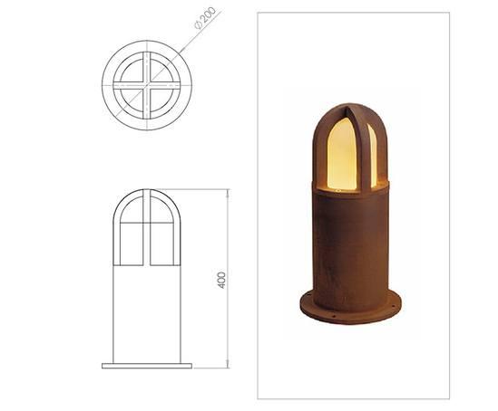 Rusty Cone 400 illuminated bollard