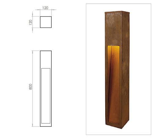 Rusty Slot 500mm illuminated bollard