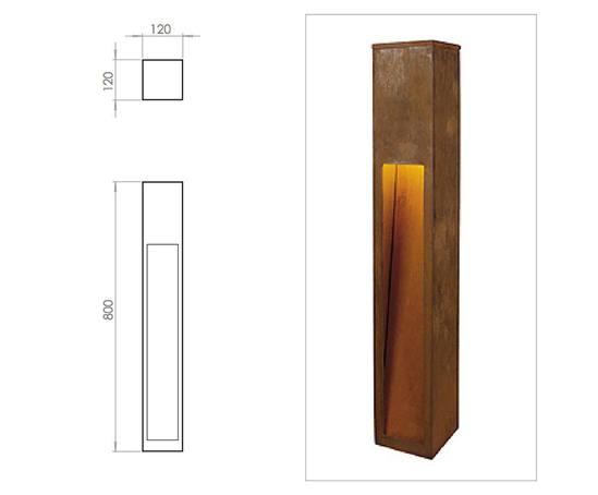 Rusty Slot 800mm illuminated bollard