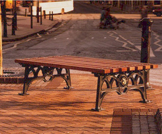 ASF 501 traditional cast iron and timber backless bench
