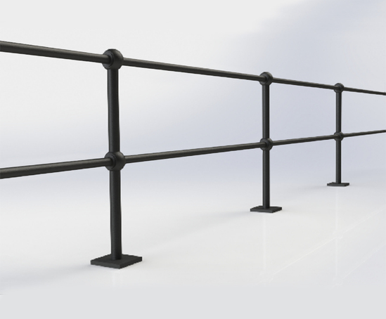 ASF Buckden 2 Rail Recycled Cast Iron Post