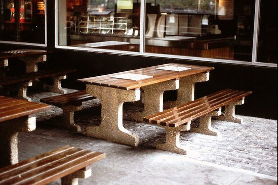 Southampton picnic table, hardwood & exposed aggregate
