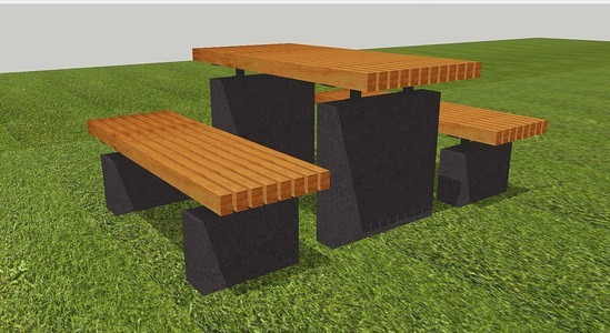 Roeburn concrete / hardwood picnic table and benches
