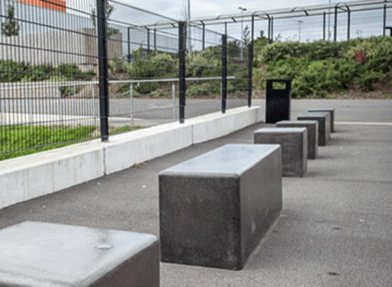 Timor Black Polished Concrete Seating Neptune Street Furniture Esi External Works