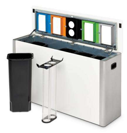 CANTO 5-container recycling bin with cup collector