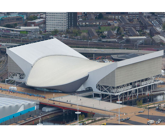 Aquatics centre with temporary wings for Games capacity