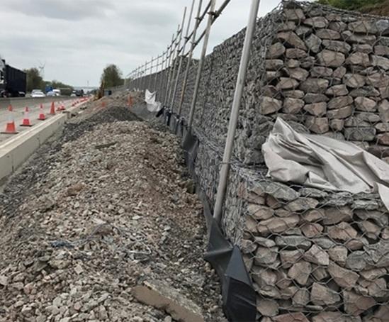 Gabion Baskets Create Retaining Walls For Smart Motorway