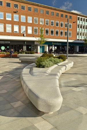Bespoke silver grey granite benches, Queens Square