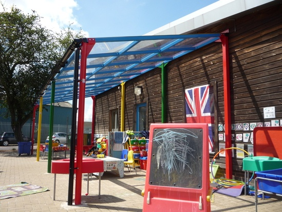 Bespoke steel school playground canopy with PET roof