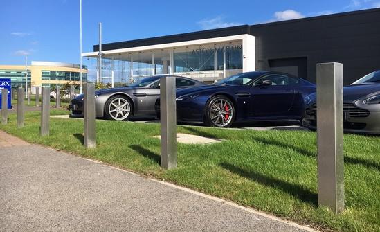 Fixed stainless steel bollards for Aston Martin