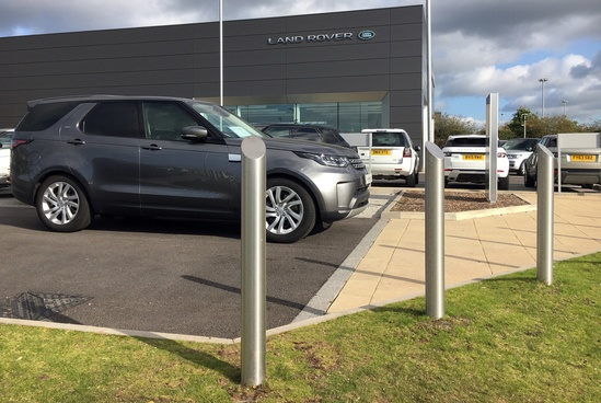 Stainless steel bollards for car dealership