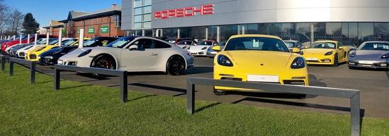 Hoop barriers for car dealer perimeter