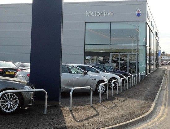 Hooped barriers protect Maserati car showroom