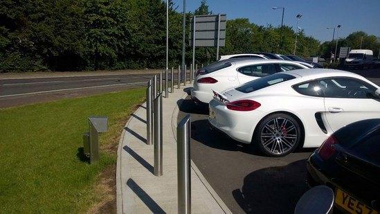 Stainless steel mitre-top bollards - Porsche forecourt