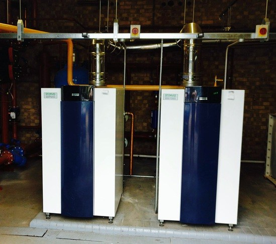 A pair of Stokvis R605 boilers at Westley Middle School