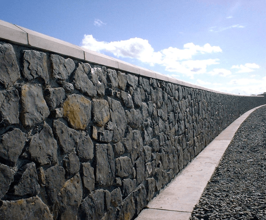 Rocwall reinforced concretenatural stone retaining wall