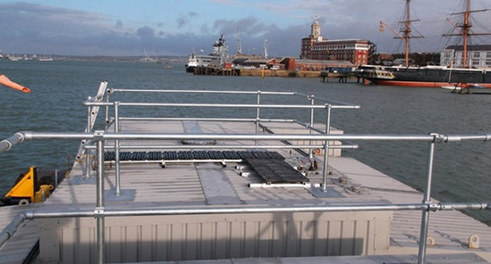 Roof edge protection at Portsmouth Harbour