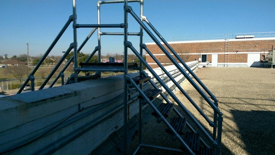 Step-over for accessing roofs safely