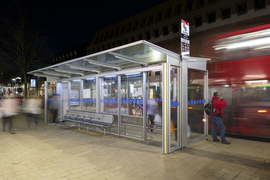 Bespoke aluminium bus shelters with integral LED lights