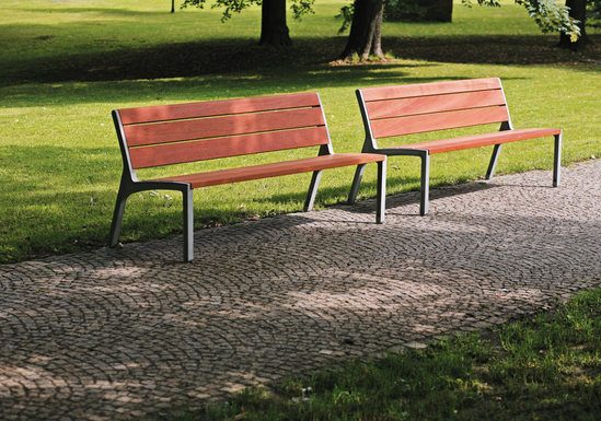 Miela bench with aluminium frame and timber seat/back