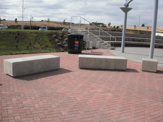 External seating, recycling and litter bin