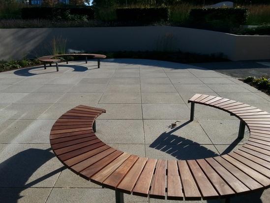 Circular Vera Sola benches at Kestrel House