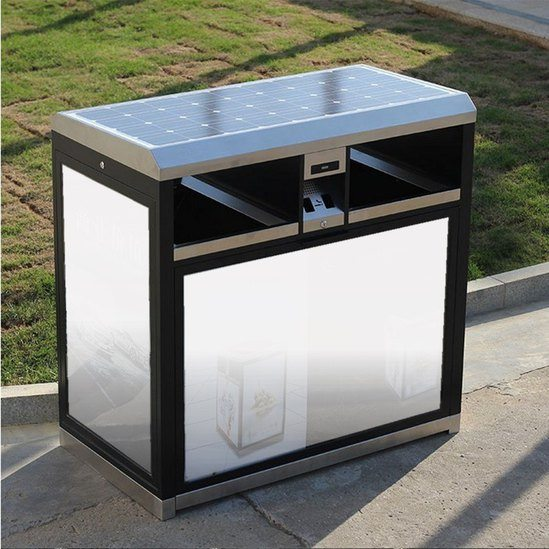 Street Tidy litter bin with solar-powered display