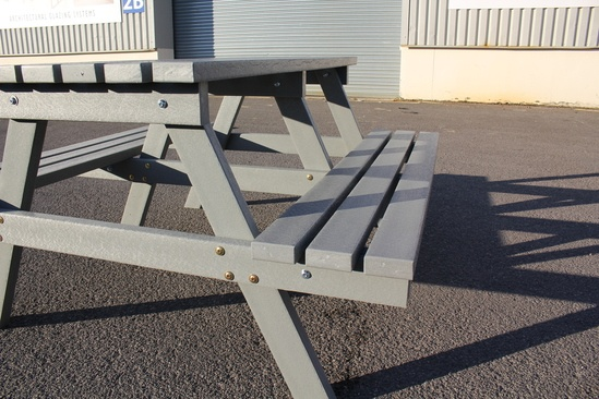 Grey recycled plastic picnic table