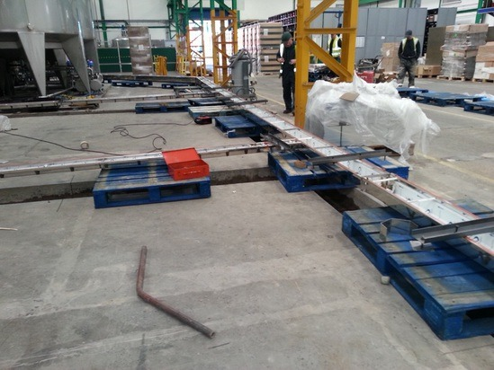 Drainage channels for wine bottling plant