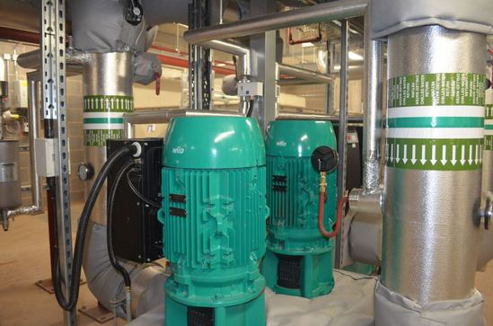 Pumps were supplied for heating and cooling water