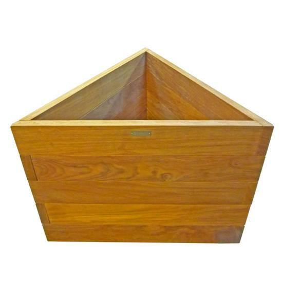 Triangular hardwood timber planter