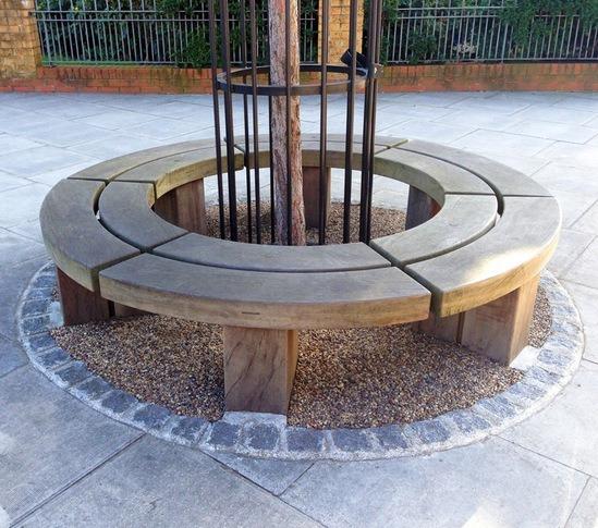 Circular hardwood tree seat