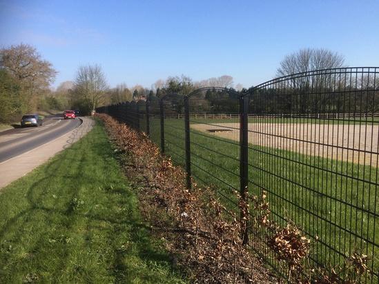 Steel perimeter fencing - Essington cemetery