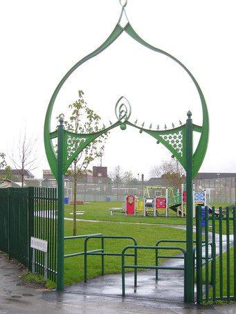 Metal archway, Raymond Road Park, Alum Rock