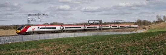 Palisade fencing along railway line