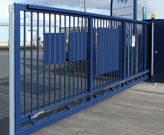 Cantilever security gates, with vertical rail infill
