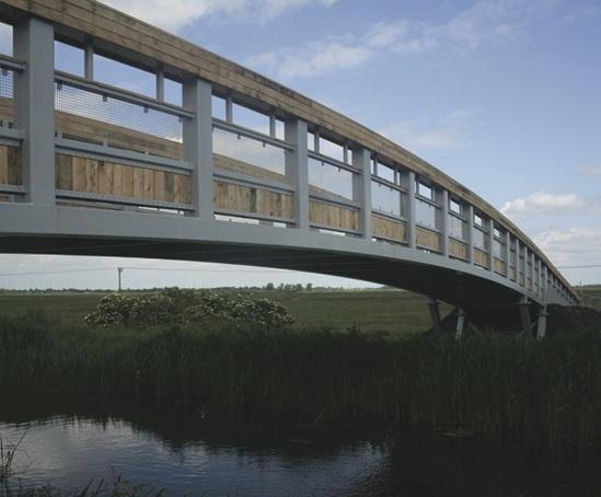 Steel and timber truss bridge at Wicken Fen