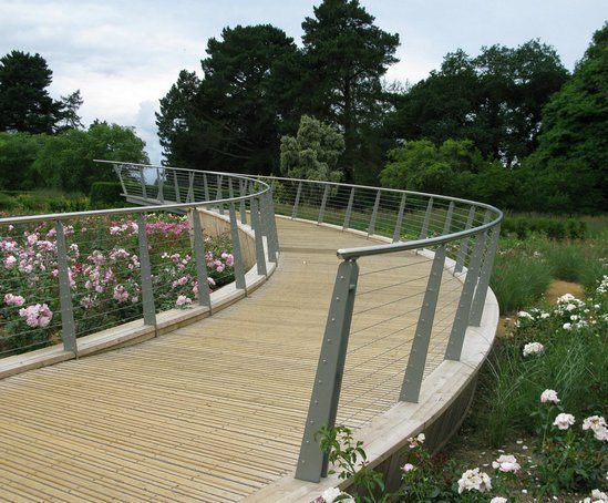 Steel-framed walkway with oak decking