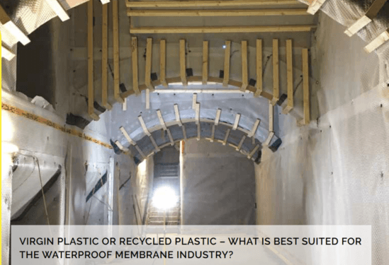 Waterproofing membranes virgin or recycled plastic