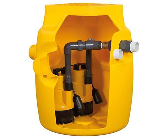 Dual V6 below-ground packaged sump pump station