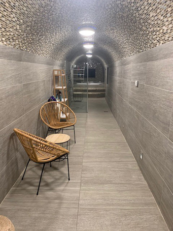 The finished vaulted basement