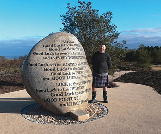Polished and inscribed Good Luck Stone - Gleneagles