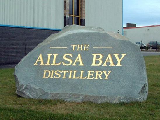 Ailsa Bay Distillery natural stone boulder sign
