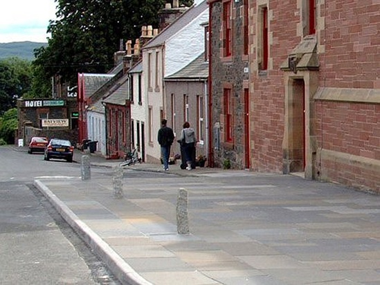 Granite bollards protect pavements