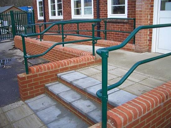DDA-compliant handrails, powder-coated green