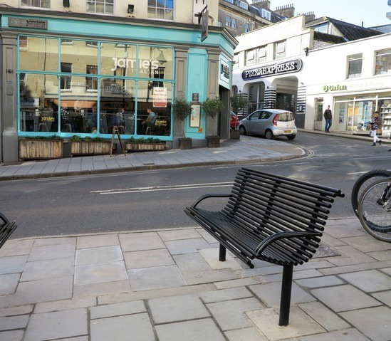 Outdoor seating for park street bristol benchmark for Product design consultancy bristol