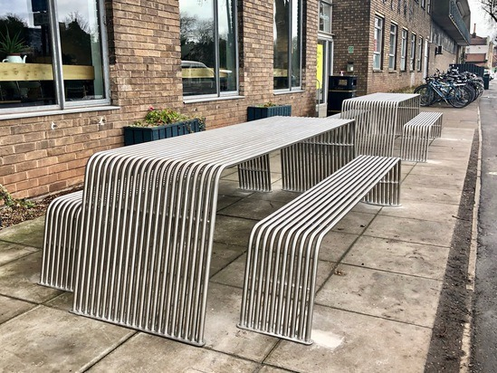 Stainless steel picnic tables