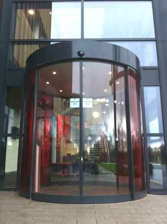 Curved sliding entrance - University of Nottingham