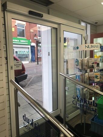 Automatic sliding door for high street chemist